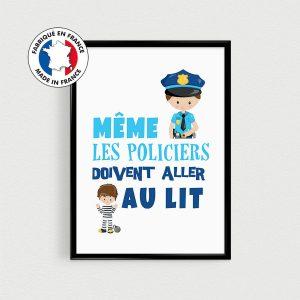 """Déco de chambre d'enfant, poster """"Même les policiers doivent aller au lit"""", affiche citation en français, cadeau de naissance"""