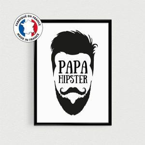 Poster Papa Hipster, cadeau fête des pères, affiche citation en français scandinave d'un hipster barbu et moustachu papa