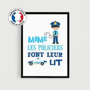 """Poster policier - """"Même les policiers font leur au lit"""" - Affiche citation en français pour chambre d'enfant - thème métiers uniforme"""