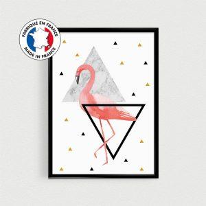 Poster A4 Flamant rose - style scandinave et hypster - triangles doré or rose et noir