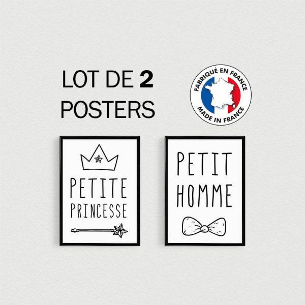 PROMOTION : Lot de 2 Posters citation en français Princesse et Petit Homme - enfant style scandinave - cadeau baby shower