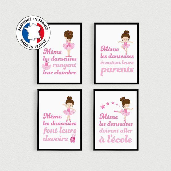 Lot de 4 affiches citation en français, Danseuse étoile, poster pour fille, esprit scandinave humour rose, déco chambre enfant