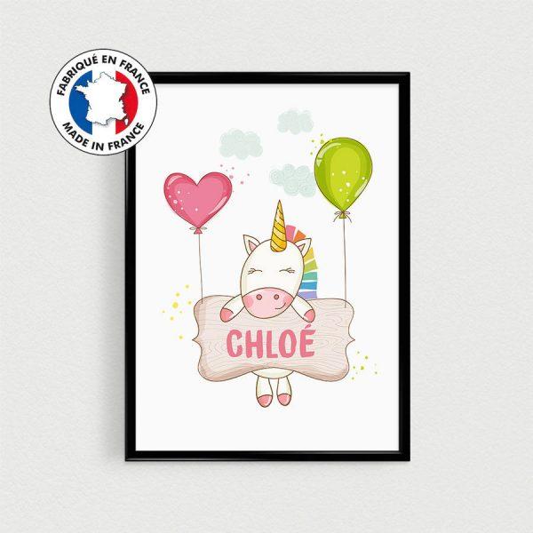 Affiche personnalisable Licorne pour chambre de bébé ou nurserie ou cadeau babyshower avec prénom - Poster en français scandinave (21x30cm)