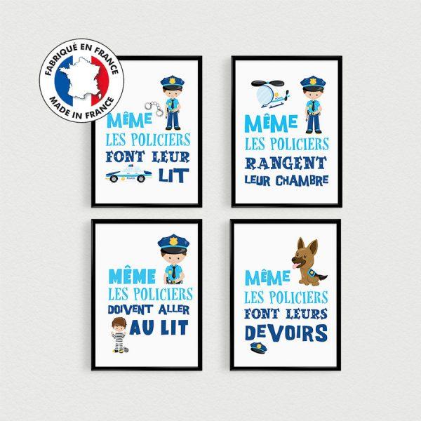 PROMO: Lot de 4 Posters citations en français POLICIERS pour enfant en pêle-mèle dans une chambre - Affiche