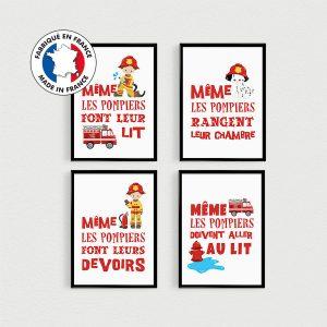 PROMO: Lot de 4 Posters citations en français POMPIERS pour enfant en pêle-mèle dans une chambre - Affiche
