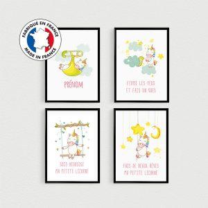 PROMO: Lot de 4 affiches citations en français de licornes scandinave pour bébé dans une chambre ou nurserie ou en cadeau babyshower