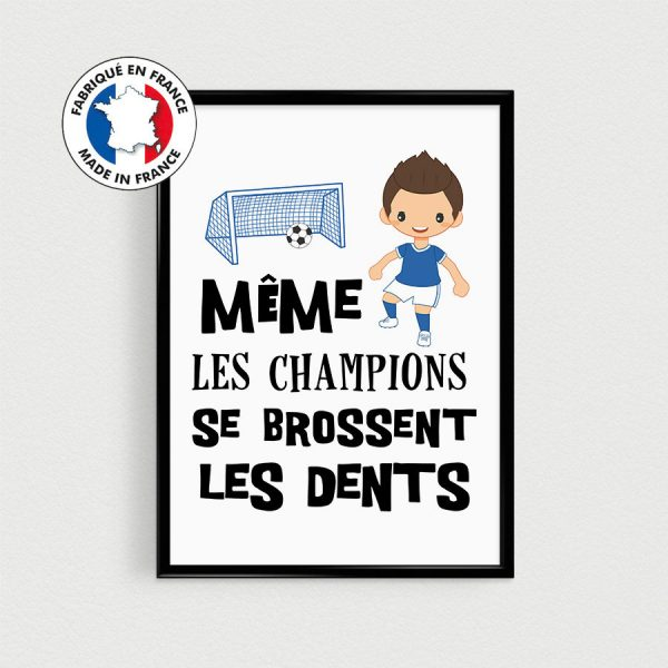 Affiche foot pour enfant, Poster citation en français, décoration enfant, coupe du monde