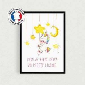 """Chambre d'enfant, affiche citation Licorne pour chambre de bébé ou nursery - Poster citation scandinave """"Fais de beaux rêves"""""""