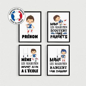 Posters enfants avec des rugbymen, lot de 4 affiches avec citations en français, décoration chambre, personnalisé par PostersMadeInFrance