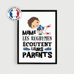 Posters enfants avec un rugbyman, affiche enfant avec citation en français, décoration rugby de chambre par PostersMadeInFrance
