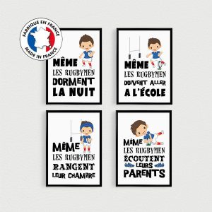 PROMO: Lot de 4 Posters enfants avec des citations en français sur le rugby, décoration pour enfant en pêle-mèle dans une chambre