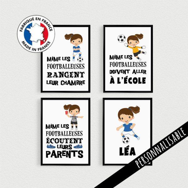 Décoration de chambre d'enfant, lot de 4 Posters personnalisable, Même les footballeuses, affiche citation en français, déco football