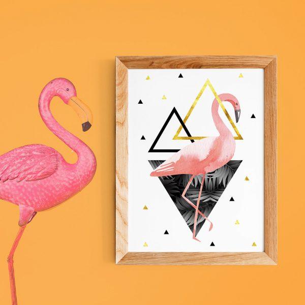 Poster A4 Flamant rose - scandinave - triangles doré or rose et noir - palmiers