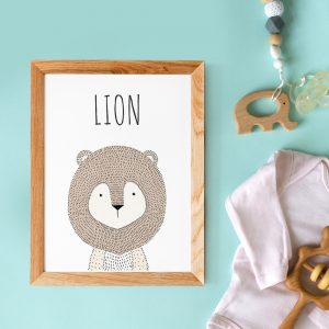 Affiche citations en français d'animal (lion) style scandinave pour nurserie ou chambre de bébé ou cadeau baby shower