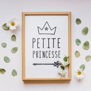 Décoration nursery, affiche citation en français, déocration chambre enfant, poster princesse, dans l'esprit scandinave, pour pele mele