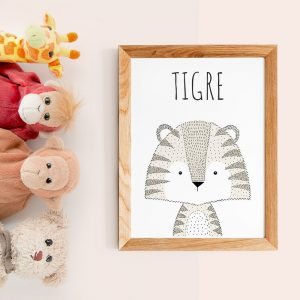 Poster citations en français d'animal (tigre) style scandinave pour nurserie ou chambre de bébé ou cadeau baby shower