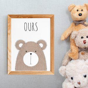 Cadeau de naissance, affiche ours avec citation en français, décoration chambre de bébé,  poster style scandinave, pour nurserie