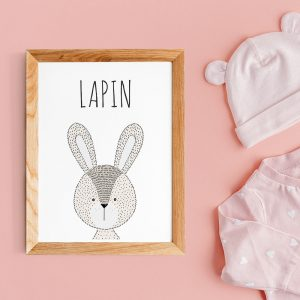 Cadeau de baby shower, affiche citations en français d'animal (lapin) style scandinave pour nurserie ou chambre de bébé