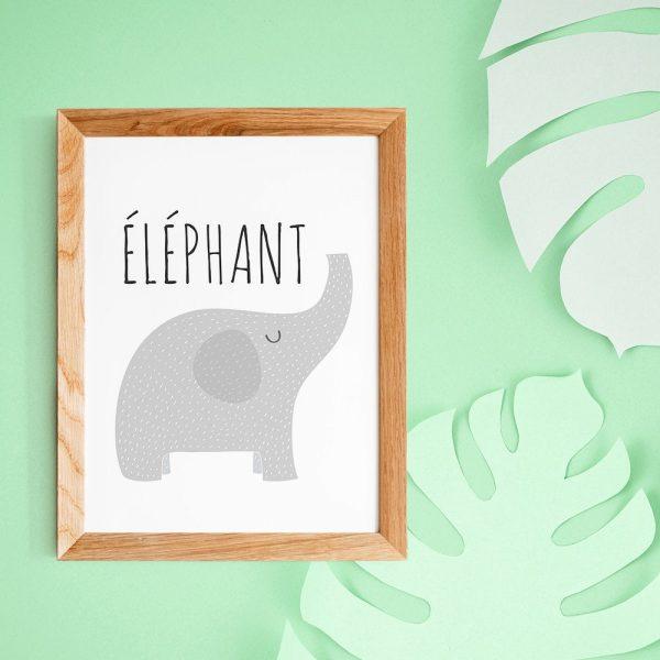 Décoration nurserie, affiche éléphant avec citation en français, style scandinave pour naissance ou chambre de bébé, adeau baby shower