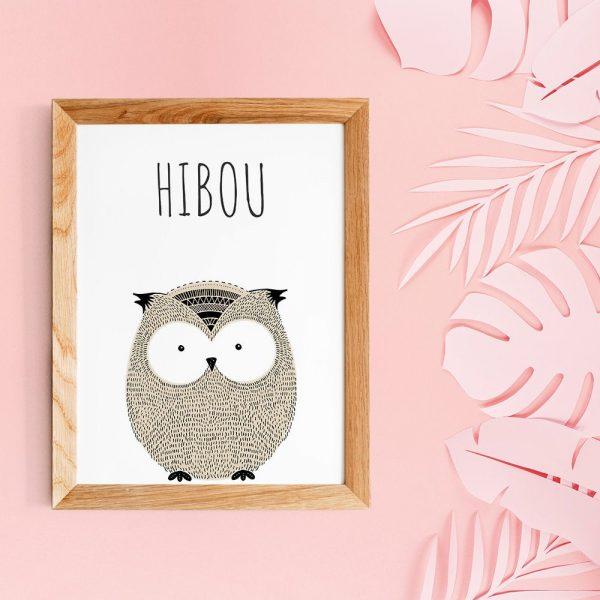 Poster citations en français d'animal (hibou) style scandinave pour nurserie ou chambre de bébé ou cadeau babyshower