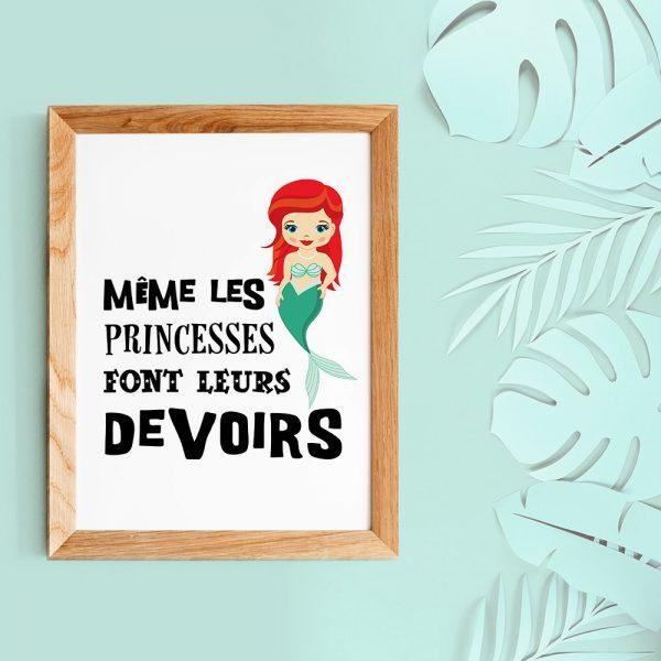 Décoration chambre d'enfant, affiche citation en français Princesse sirène, poster pour enfant, esprit scandinave poster A4 humour couleurs