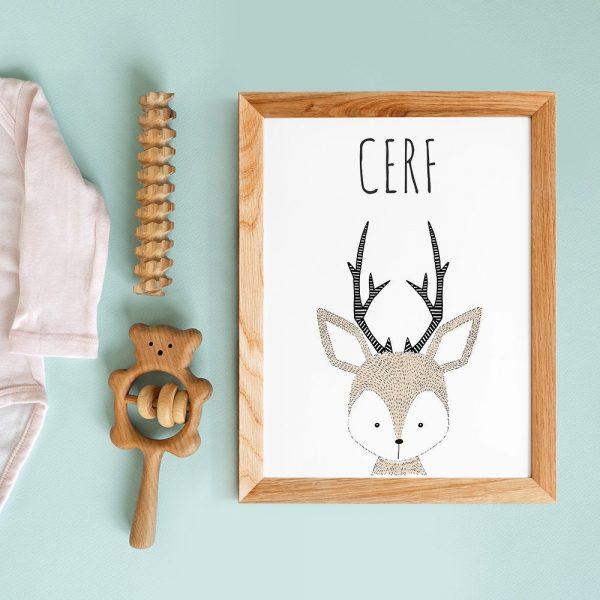 Cadeau de naissance, affiche cerf enfant avec citation en français, poster animal style scandinave pour nurserie ou chambre de bébé
