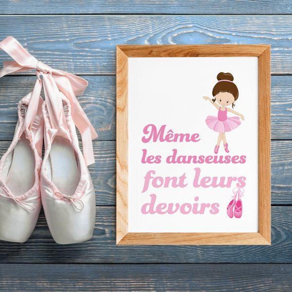 Chambre fille, poster citation en français Danseuse étoile, poster ballerine pour enfant, déco scandinave