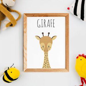 Décoration nursery, poster citations en français, affiche girafe, style scandinave, pour décoration de chambre de bébé et cadeau babyshower