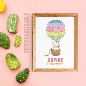 Affiche personnalisable Licorne et montgolfière pour chambre de bébé ou nurserie avec prénom - décoration scandinave pour enfant