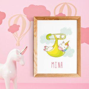 Cadeau baby shower, affiche personnalisable Licorne pour chambre de bébé ou nurserie avec prénom, Poster citation en français scandinave