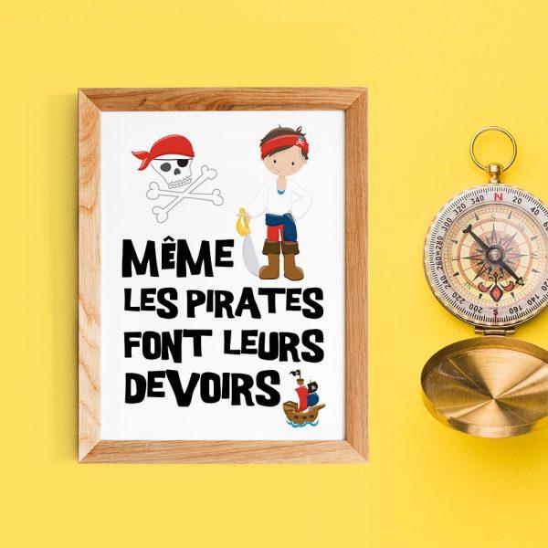 """Décoration chambre d'enfant, poster citation en français, """"Même les pirates font leurs devoirs"""", Affiche citation pour l'école"""