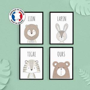 Décoration de nursery, lot de 4 affiches animaux, citations en français, cadeau naissance, poster lapin, chambre de bébé, baby shower