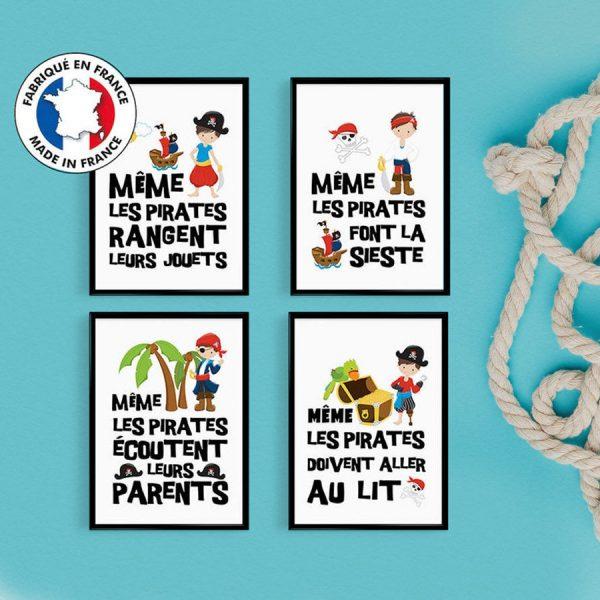 PROMO : Lot de 4 POSTERS Citation Petits Pirates pour chambre d'enfant - Affiche citation décoration enfant - cadeau garcon